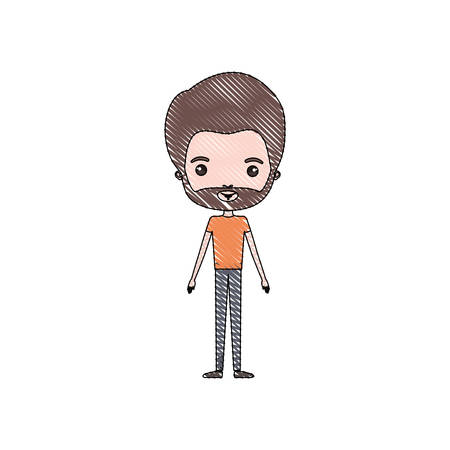 color crayon silhouette caricature thin man in clothes with beard vector illustration