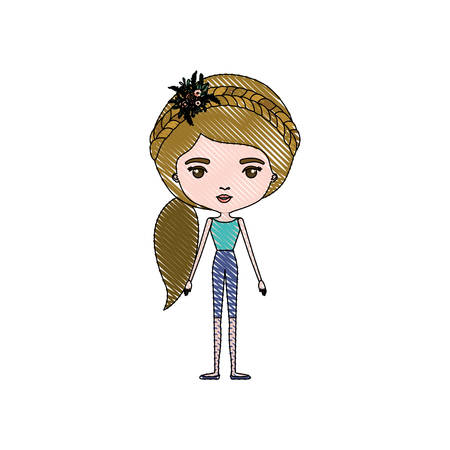 color crayon silhouette caricature skinny woman in clothes with side ponytail hairstyle and flower crown accesory vector illustration