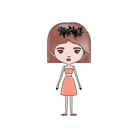 color crayon silhouette caricature skinny woman in clothes with short hairstyle and flower crown accesory vector illustration