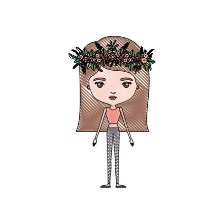 color crayon silhouette caricature skinny woman in clothes with straight medium hairstyle and flower crown accesory vector illustration