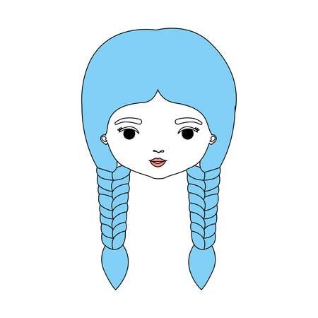 color sections silhouette caricature closeup front view face woman with double braids hairstyle vector illustration Vektoros illusztráció