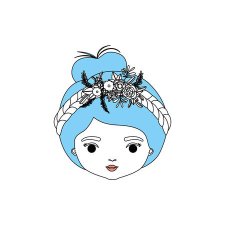 plait: color sections silhouette caricature closeup front view face woman with collected hairstyle and braid crown decorate with flowers vector illustration