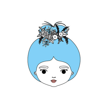 color sections silhouette caricature closeup front view face woman with bun collected hairstyle and crown decorate with flowers vector illustration