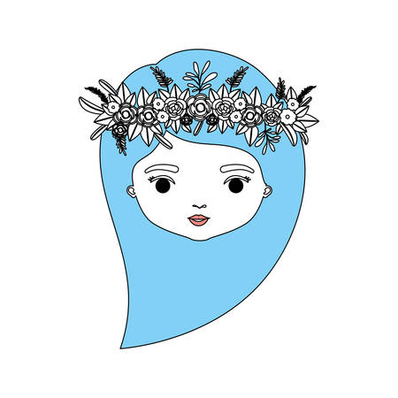 color sections silhouette caricature closeup front view face woman with long side hairstyle and crown decorate with flowers vector illustration Illustration