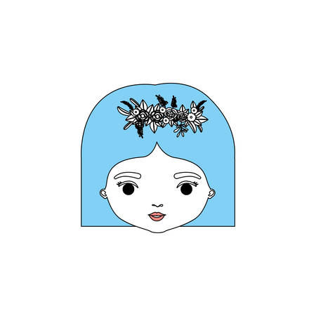 color sections silhouette caricature closeup front view face woman with straigh short hairstyle and crown decorate with flowers vector illustration Illustration