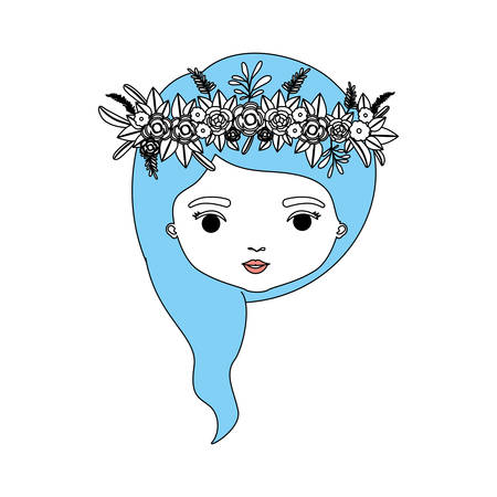Colored caricature, closeup front view of  womans face with wavy medium hairstyle and crown decorate with flowers vector illustration