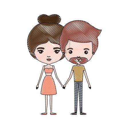 crayon colored silhouette of slim couple standing caricature and him with short light brown hair and beard and her with dress and bun hairstyle vector illustration