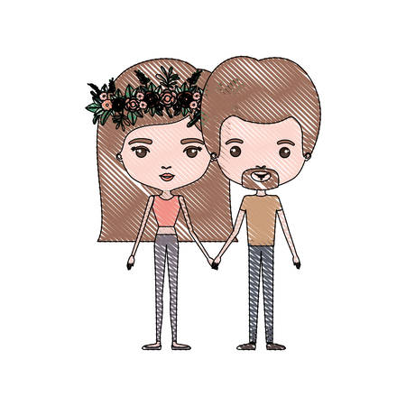 crayon colored silhouette of slim couple standing caricature and both with brown hair and pants and her with medium straight hair and floral crown accesory and him with van dyke beard vector illustration
