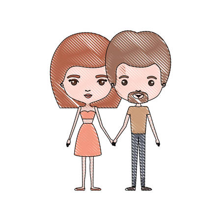dyke: A crayon colored silhouette of slim couple standing caricature and him with short light brown hair and van dyke beard and her with skirt and mushroom hairstyle vector illustration.