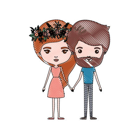 crayon colored silhouette of slim couple standing caricature and her in dress with long red hair with floral crown and him with beard vector illustration