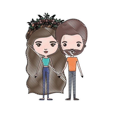 crayon colored silhouette of slim couple standing caricature and her in pants with brown and long wavy hair with floral crown and him with brown hair and beard vector illustration
