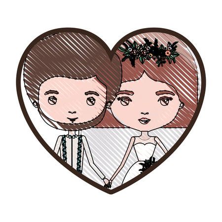 heart shape portrait with color crayon silhouette caricature newly married couple groom with formal wear and bride with straight short hairstyle vector illustration