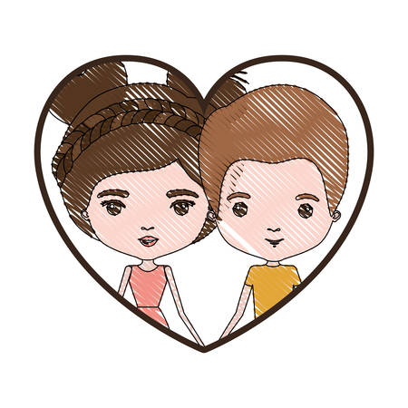 heart shape portrait with color crayon silhouette caricature of him with short brown hair and her with dress and double bun hairstyle vector illustration Illustration