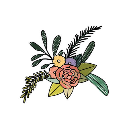 white fabric texture: white background with colored crayon silhouette floral ornament with several flowers and branches vector illustration Illustration