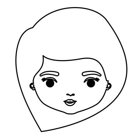 monochrome silhouette of caricature closeup front view face woman with straight medium hairstyle vector illustration Illustration