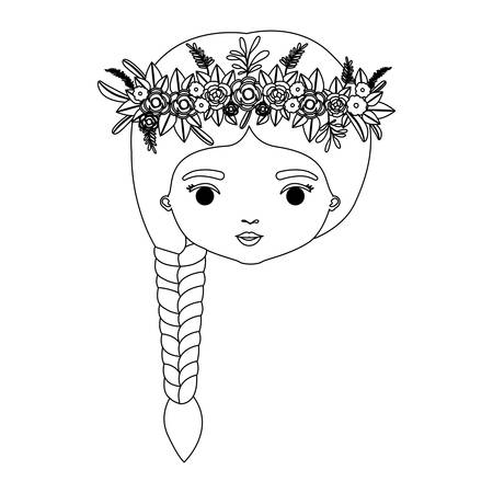 monochrome silhouette of caricature front view face woman with braid hairstyle and crown decorate with flowers vector illustration Illustration