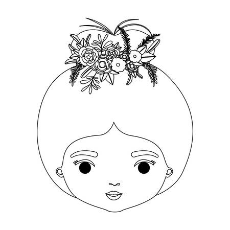 monochrome silhouette of caricature closeup front view face woman with bun collected hairstyle and crown decorate with flowers vector illustration