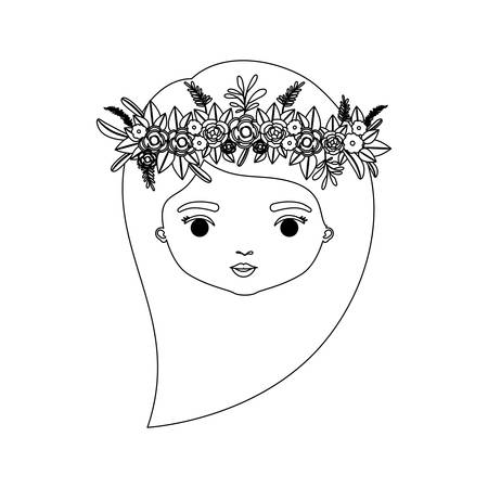 monochrome silhouette of caricature front view face woman with long side hairstyle and crown decorate with flowers vector illustration Illustration