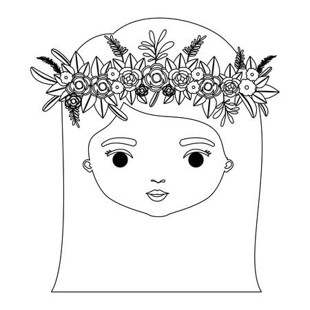 monochrome silhouette of caricature closeup front view face woman with straigh medium hairstyle and crown decorate with flowers vector illustration