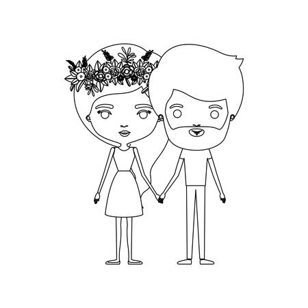 boy long hair: Monochrome silhouette of caricature couple standing and her in dress with long hair with floral crown and him with beard vector illustration