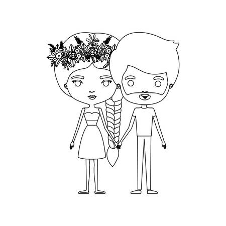 braided: Monochrome silhouette of caricature couple standing and her in dress with braided hair with floral crown and him with beard vector illustration Illustration