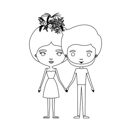 Monochrome silhouette of caricature couple standing, her in dress with collected hair and floral crown and him bearded