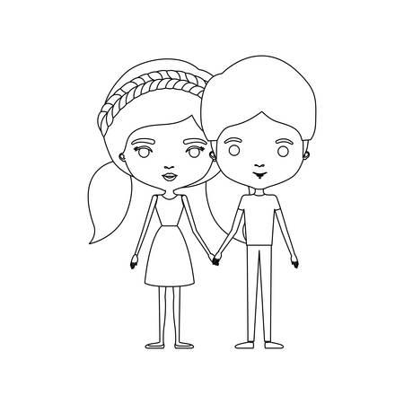 ドレスとおさげ髪の髪と私服のベクトル図に彼彼女に立って、似顔絵カップルのモノクロ シルエット