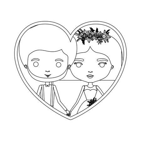 Einfarbige Schattenbildherzform-Porträtkarikatur des eben verheirateten Paars Bräutigam mit formeller Kleidung und Braut mit gerader kurzer Frisurvektorillustration Standard-Bild - 83144547