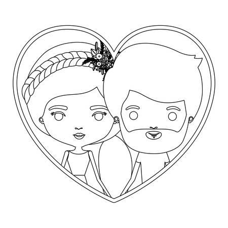 モノクロ シルエット心形肖像画似顔絵カップルと彼短い髪とひげ彼女とポニーテールの髪型と花の冠アクセサリー ベクトル図  イラスト・ベクター素材