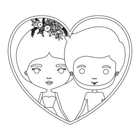 モノクロ シルエット心形肖像画似顔絵カップル彼女と収集した髪と花の冠と彼とドレスのひげを生やしたベクトル図  イラスト・ベクター素材