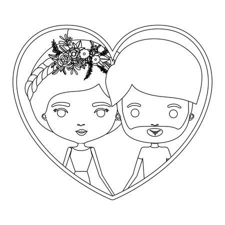 ひげのベクトル図と、収集した髪と花の王冠と彼に肖像画似顔絵のカップルと彼女モノクロ シルエット ハート型します。