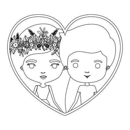 boy long hair: monochrome silhouette heart shape portrait caricature with couple and her in dress with long straight hair with floral crown and him in casual clothes vector illustration