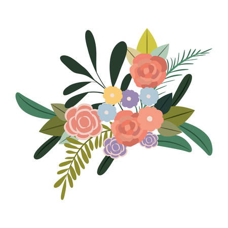 white fabric texture: White background with colorful silhouette of bouquet flowers vector illustration