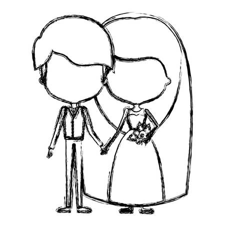monochrome blurred silhouette of caricature faceless newly married couple young groom with formal wear and bride with long hairstyle vector illustration
