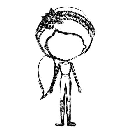 Monochrome blurred silhouette caricature of skinny faceless woman in clothes with side ponytail hairstyle and flower crown accessory vector illustration