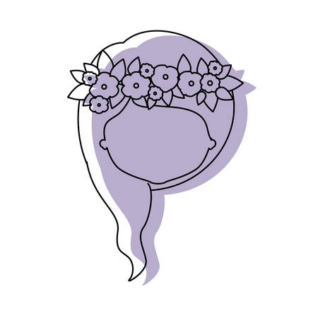 silhouette lilac color shadow of contour caricature closeup front view faceless woman with wavy medium hairstyle and crown decorate with flowers vector illustration