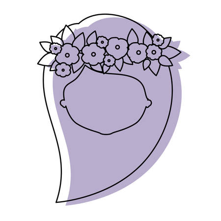 ear bud: silhouette lilac color shadow of contour caricature closeup front view faceless woman with long side hairstyle and crown decorate with flowers vector illustration Illustration