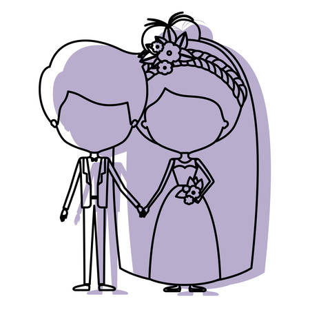 silhouette lilac color shadow of contour caricature faceless newly married couple groom with formal wear and bride with collected hairstyle vector illustration