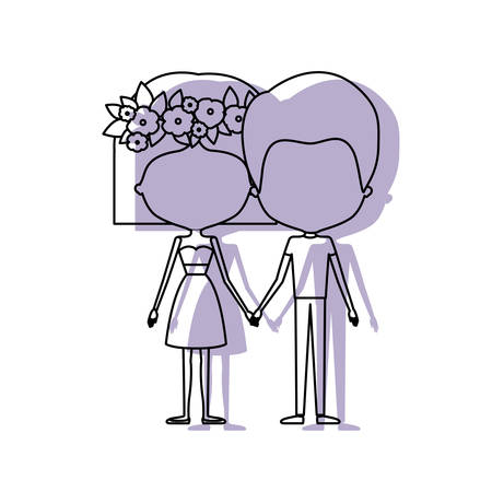 watercolor silhouette of faceless caricature couple standing and her with dress and short hairstyle and floral crown accesory vector illustration Illustration