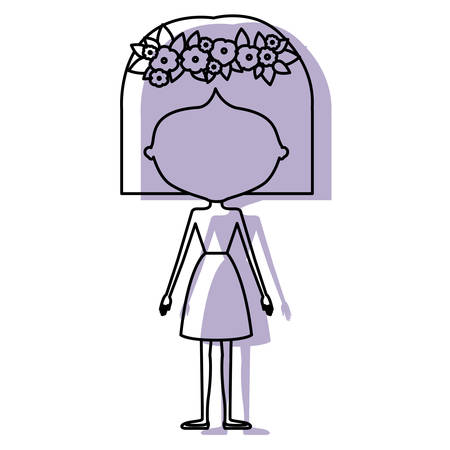 watercolor silhouette with skinny faceless woman in clothes with short hairstyle and flower crown accesory vector illustration