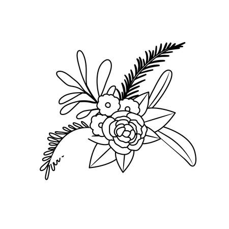 A white background with monochrome silhouette of floral ornament with several flowers and branches vector illustration.