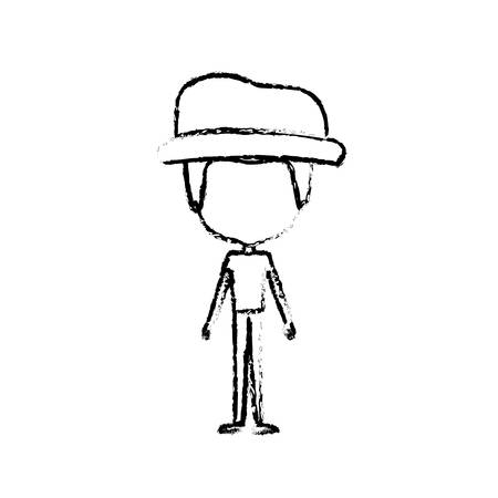 blurred silhouette of caricature faceless thin man in clothes with modern hat vector illustration
