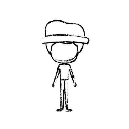hombre flaco: blurred silhouette of caricature faceless thin bearded man in clothes with modern hat vector illustration Vectores