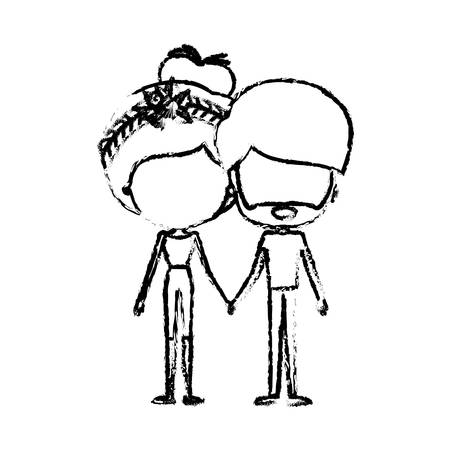 blurred silhouette of caricature faceless thin couple of bearded man and woman bun collected hairstyle with flower crown and holding hands vector illustration