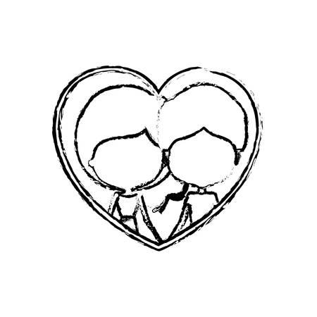 ぼやけたシルエット ハート風刺漫画フェースレス カップル男性と女性側ポニーテール髪型と