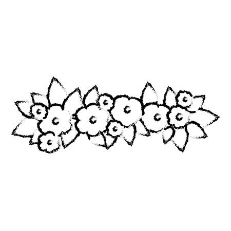 blurred silhouette of decorative crown with beautiful flowers ornaments vector illustration Illustration