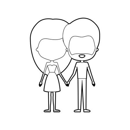 boy long hair: sketch silhouette of caricature faceless thin couple of bearded man and woman with long hair in dress holding hands vector illustration