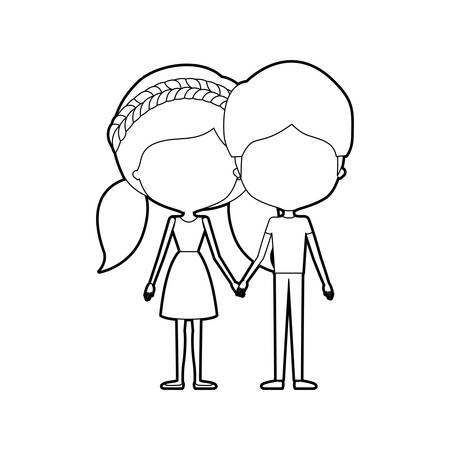 sketch silhouette of caricature faceless thin couple in clothes of young man and woman with double pigtails braided hairstyle holding hands vector illustration Illustration
