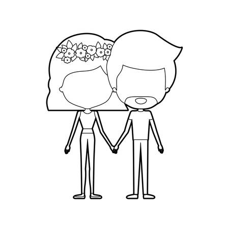 Sketch silhouette of caricature faceless thin couple of bearded man and woman wavy short hairstyle with flower crown and holding hands vector illustration