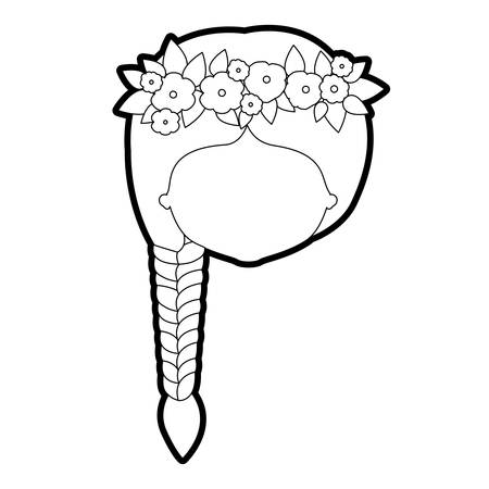 ear bud: sketch silhouette of caricature faceless woman with braid hairstyle and crown decorate with flowers vector illustration
